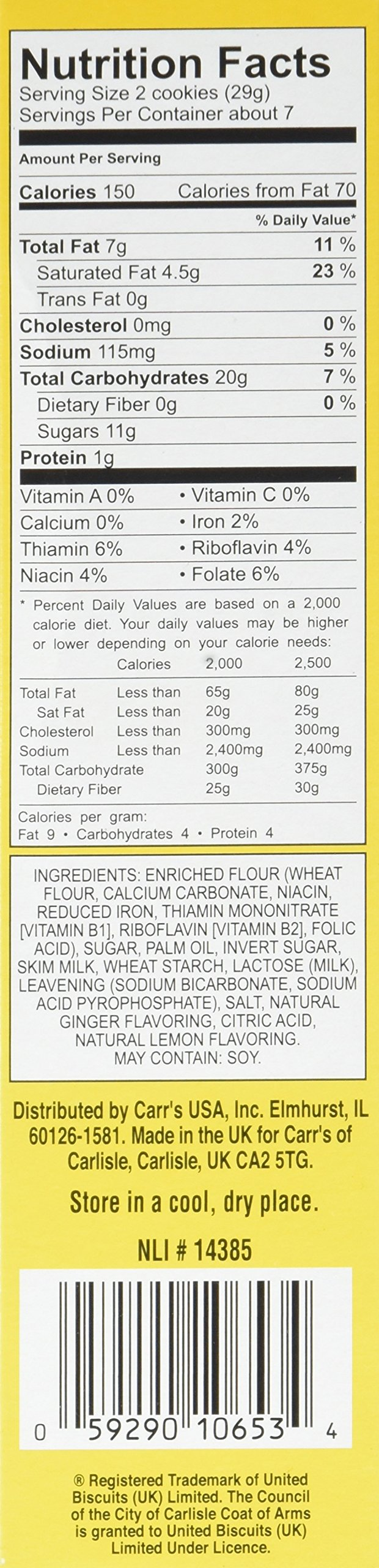Carr's Ginger Lemon Crèmes Cookies, 7.05 oz(Pack of 8) by Carr's (Image #4)