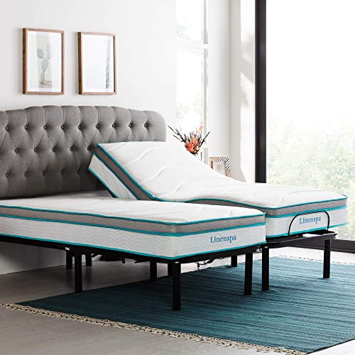 LINENSPA Adjustable Bed Base – Motorized Head and Foot Incline and 10 Inch Memory Foam and Innerspring Hybrid-Mattress, Split King