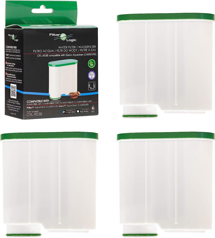 FilterLogic CFL-903B | Paquete de 3 - Filtro de agua antical compatible con Philips AquaClean CA6903/10 CA6903/22 CA6903 Cartucho filtrante Aqua Clean para máquina cafetera de café y espresso: Amazon.es: Hogar