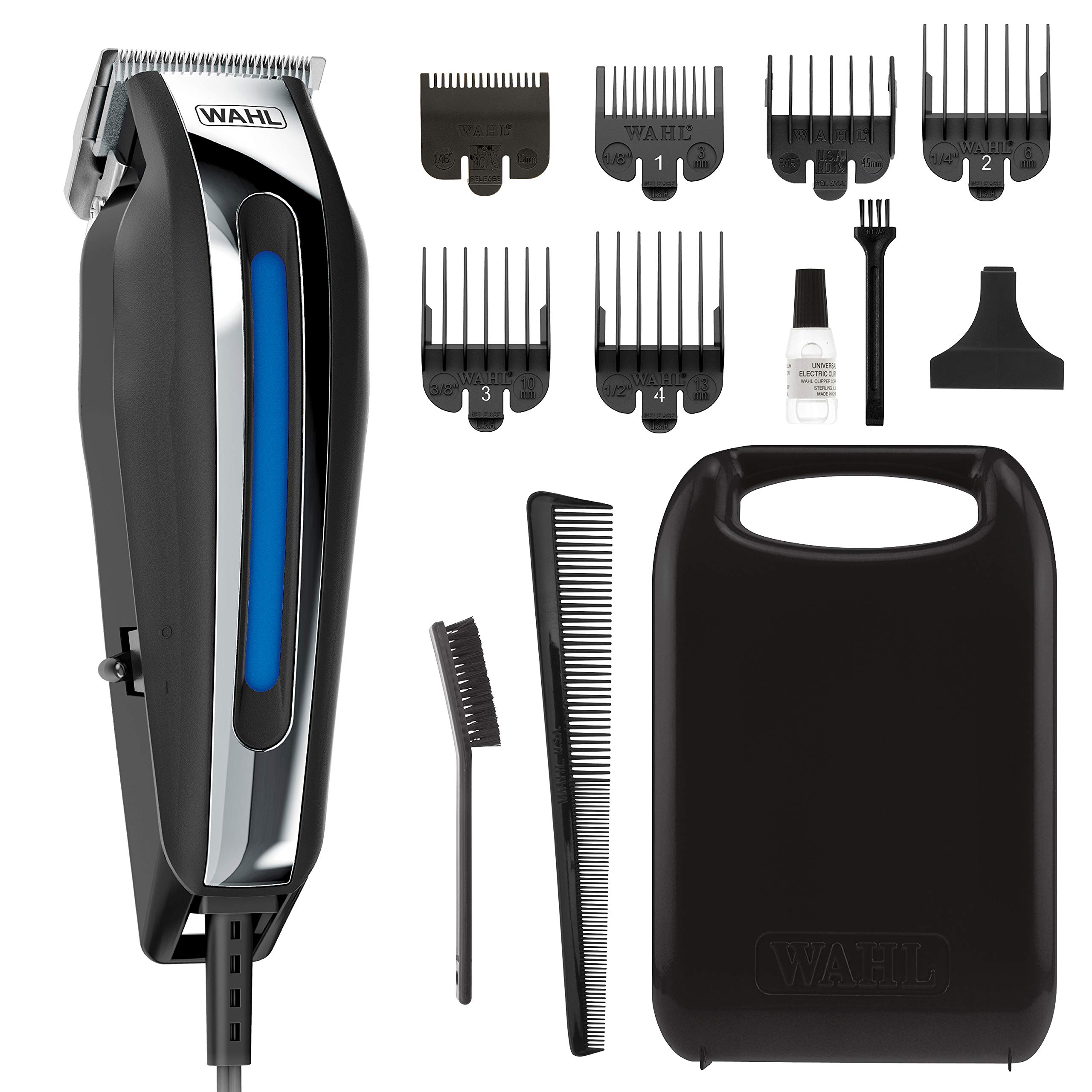 Wahl Clipper close cut Pro Haircutting Kit With Zero Overlap Blades for ultra Close Cutting, Beard Trimming, Body Grooming, & Head Shaving - 13Piece Kit by WAHL