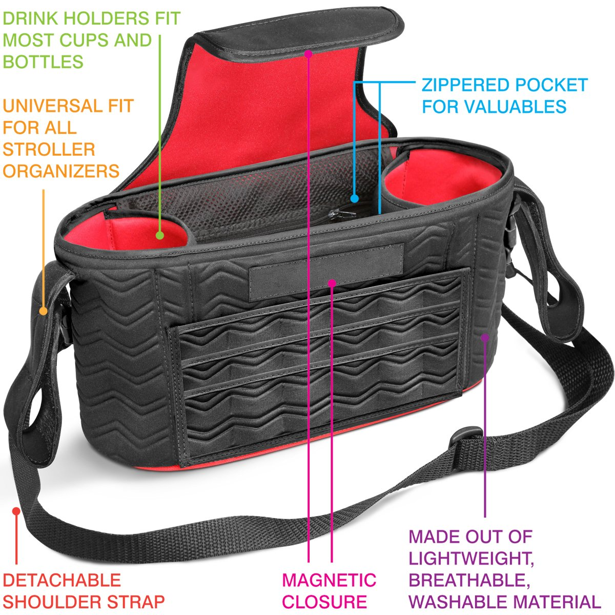 Universal Baby Stroller Organizer Bag 2 Zippered Pockets Many Compartments Two Deep Bottle Holders Magnetic Closure Best Stroller Organizer Detachable BONUS Shoulder Strap A MUST HAVE for Parents!