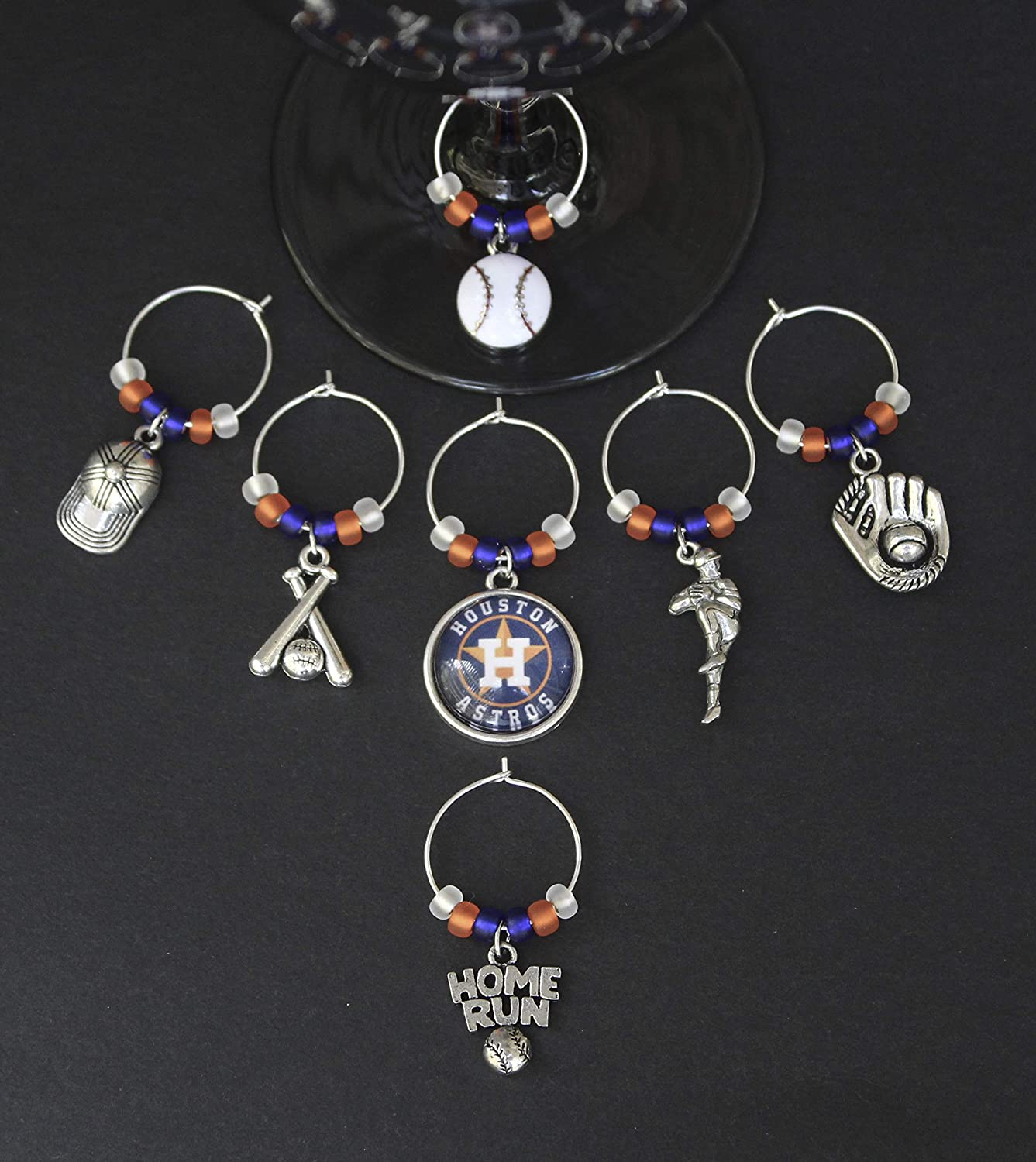Baseball Wine Glass Charms-New York-Set of 12-FREE New York Zipper Pull-BSBLL001-12