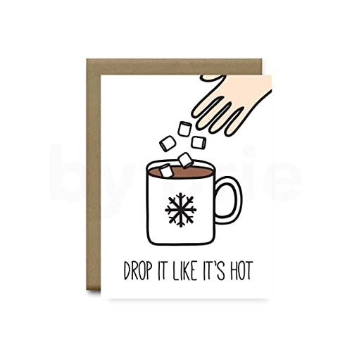 Coffee Christmas Cards.Amazon Com Drop It Like It S Hot Greeting Card Funny