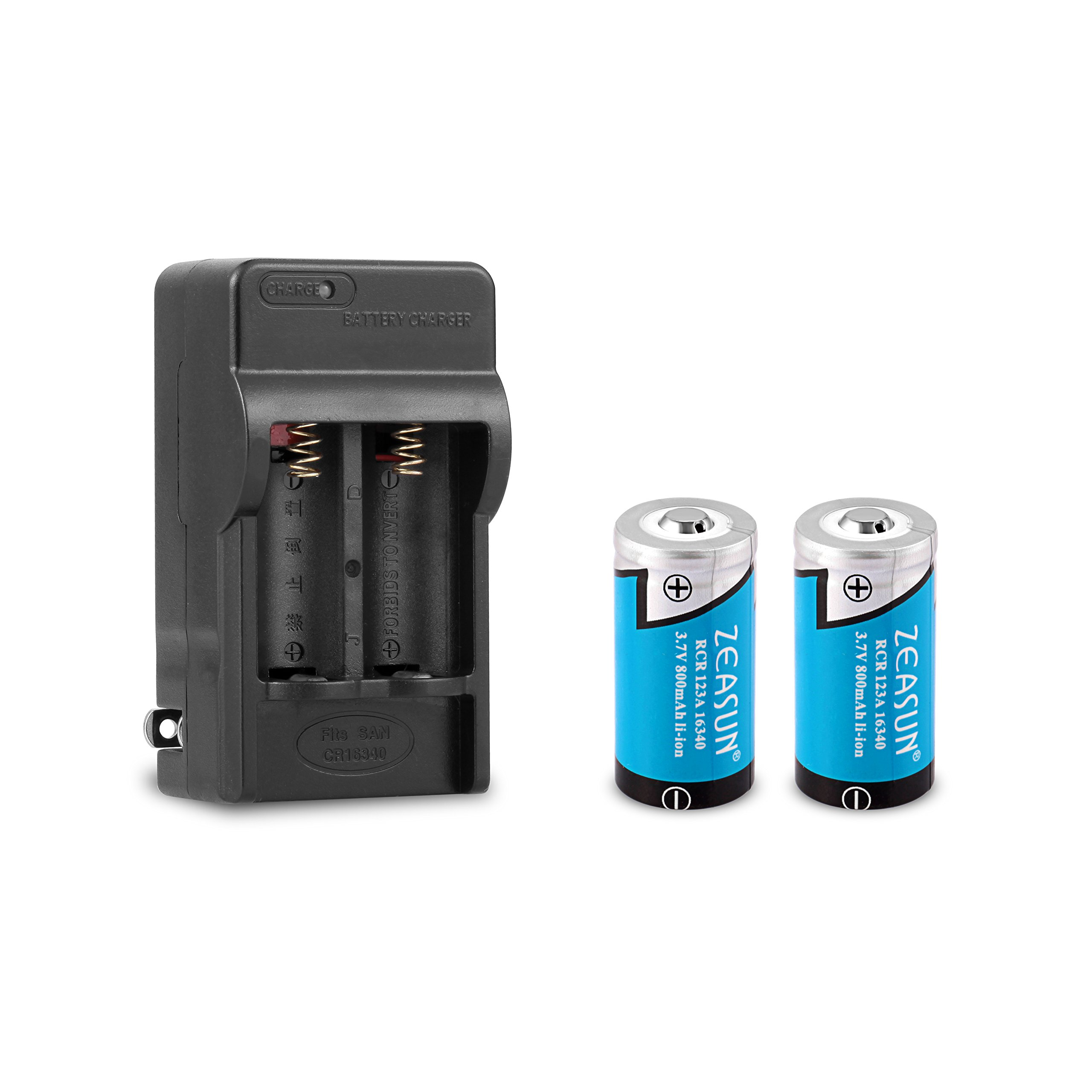 16340/ RCR123A Rechargeable Lithium Battery, Zeasun 800 mAh 3.7 V Battery 2-Pack with Dual Channel 16340 Battery Charger