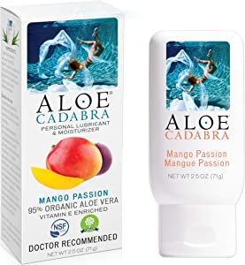 Flavored Personal Lubricant Organic, Natural Mango Passion Lube for Anal Sex, Oral, Women, Men & Couples, 2.5 Ounce Aloe Cadabra