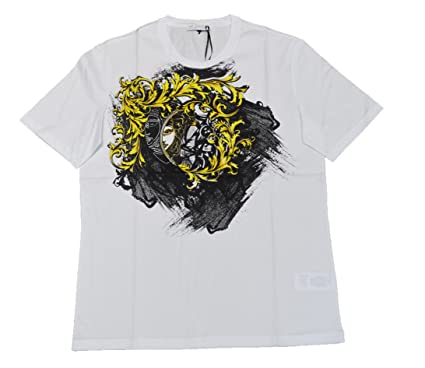 27d038c94 Versace Collection GIROCOLLO M/C (V800630) Printed T Shirt (M,  White(V7001)): Amazon.co.uk: Clothing