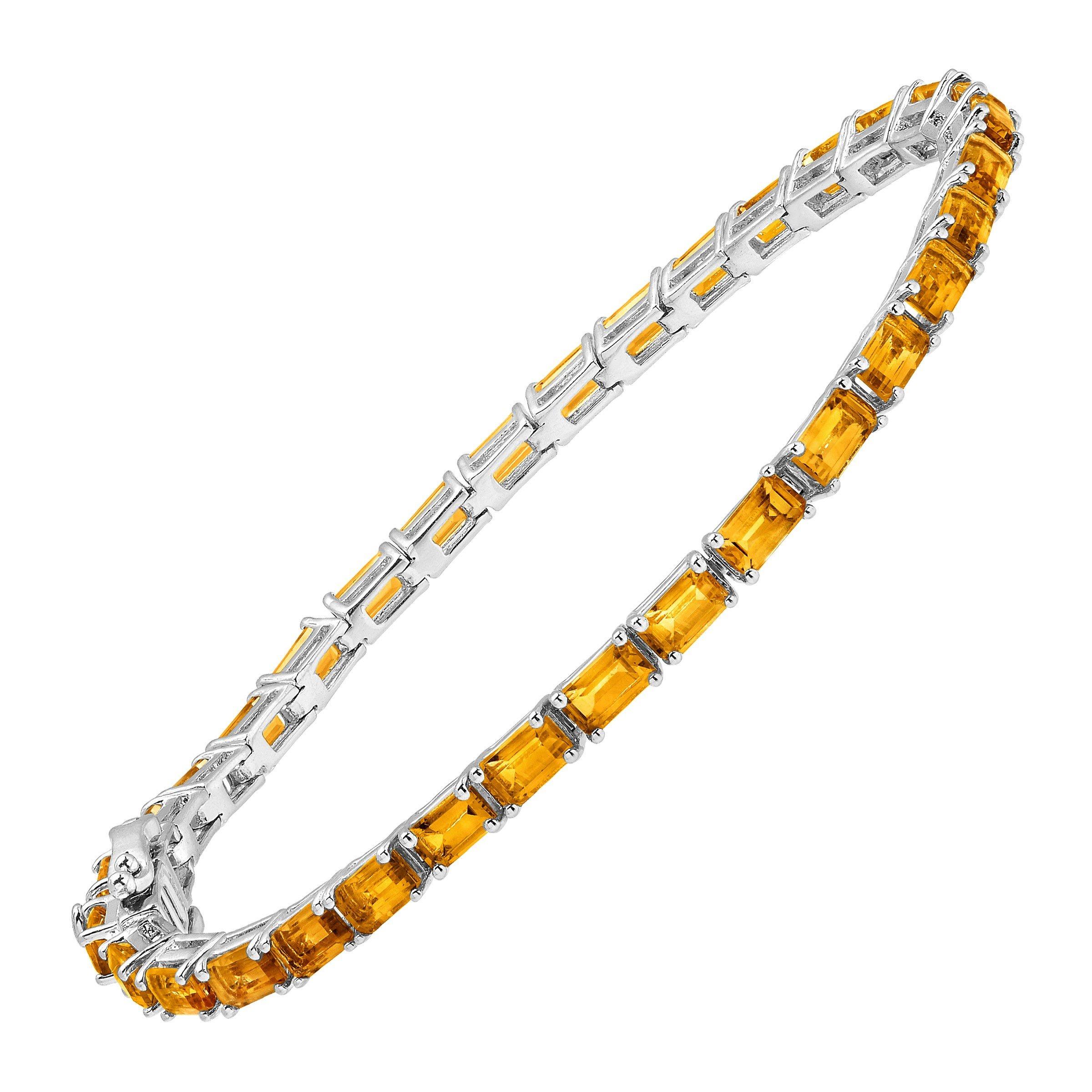 6 1/4 ct Natural Citrine Emerald-Cut Tennis Bracelet in Sterling Silver, 7''