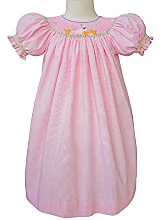21440935ed8fe Amazon.com: Carouselwear Baby Girls Pink Dress with Hand Smocked Ducklings  Spring Bishop: Clothing