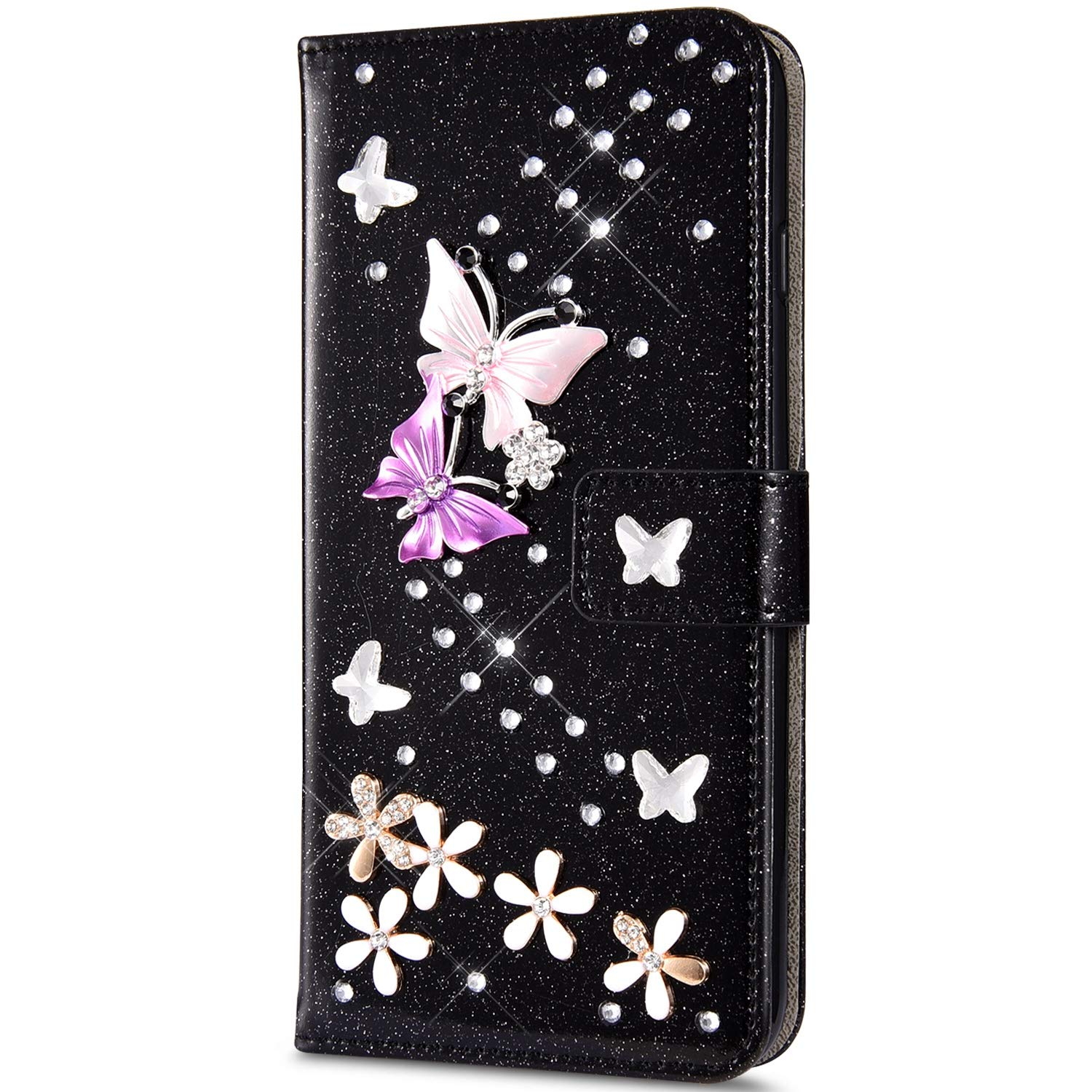 Case for iPhone 7 Plus/iPhone 8 Plus Flip Case Premium PU Leather Wallet Case 3D Handmade Glitter Bling Shiny Diamond Butterfly with Card Slots Kickstand for iPhone 7/8 Plus,Black by ikasus