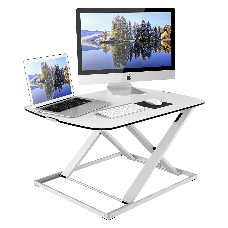 1home Sit-Stand Height Adjustable Desk Converter Standing up Work Station Ergonomic Easy Lift Black MD-01-FBA