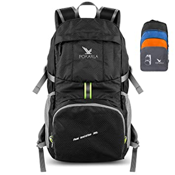 2e8b6523cd Pokarla Foldable Durable Travel Hiking Backpack 35L Ultra Lightweight  Packable Carry On Daypack Unisex for Camping