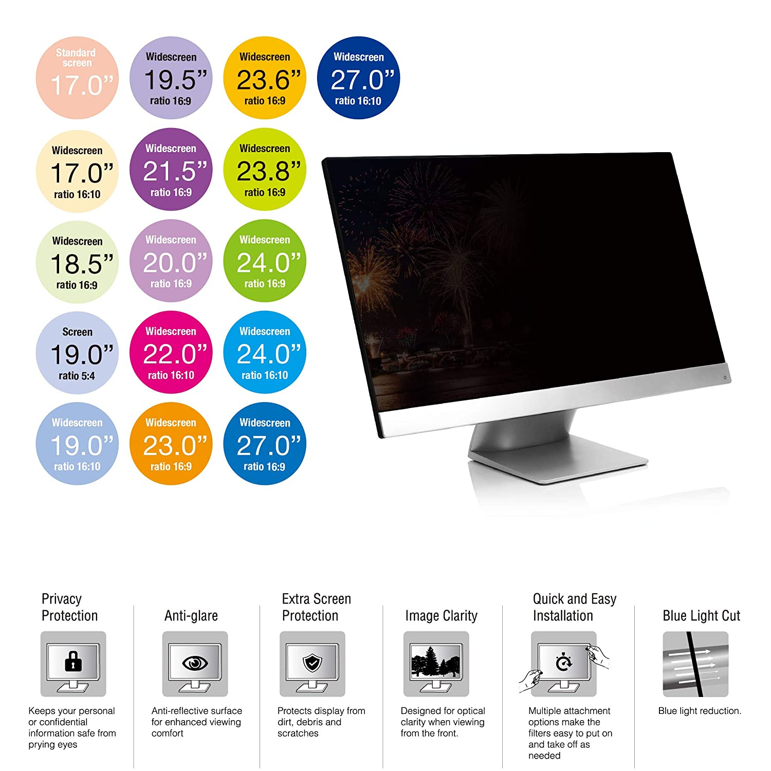 for Sceptre// Samsung// HP// LG// Acer// ASUS// Dell// Benq// AOC// ViewSonic/&PC SenseAGE Anti-Blue Light Privacy Screen Protectors Filter for Widescreen Monitor 23 inch 16:9 20.03x11.26 // 508.7 x 285.9mm
