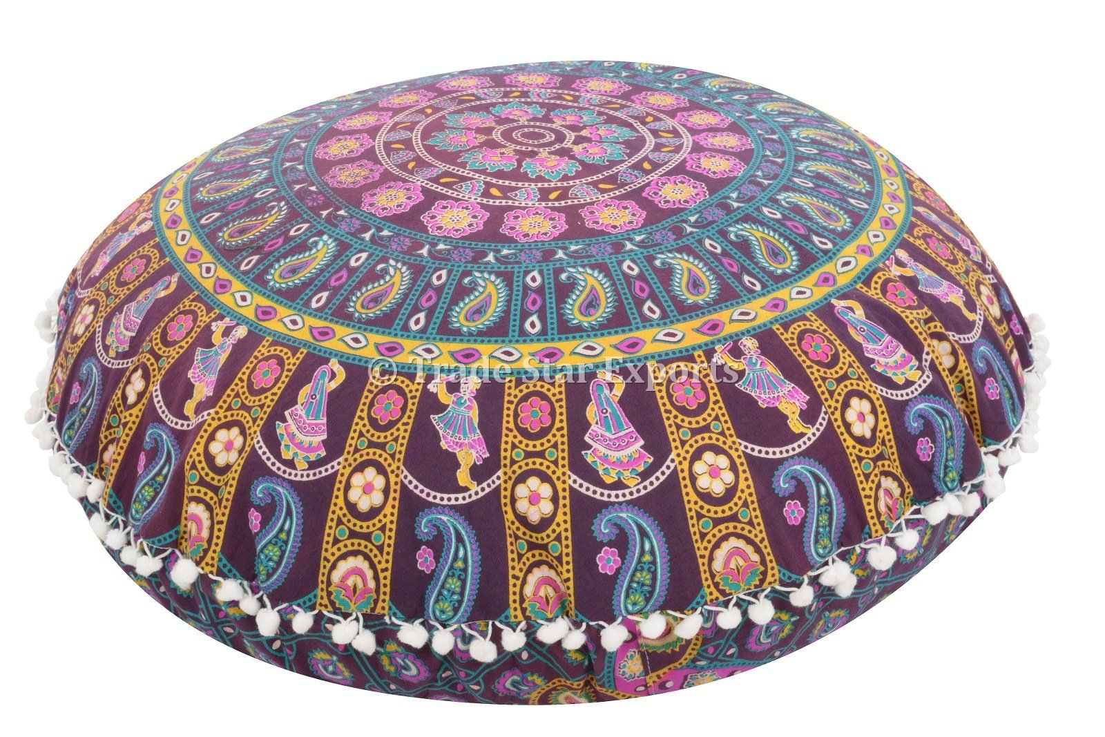 Large 32'' Round Pillow Cover, Decorative Mandala Pillow Sham, Indian Bohemian Ottoman Poufs, Pom Pom Pillow Cases, Outdoor Cushion Cover (Pattern 2)