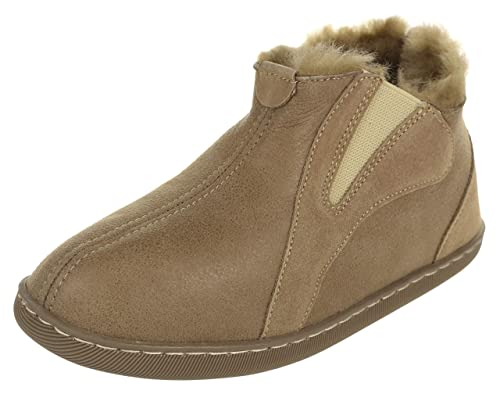 3d42cd6bce9 Vogar Mens Sheepskin Leather Slipper Boots VG-35 Sheep Wool Lined