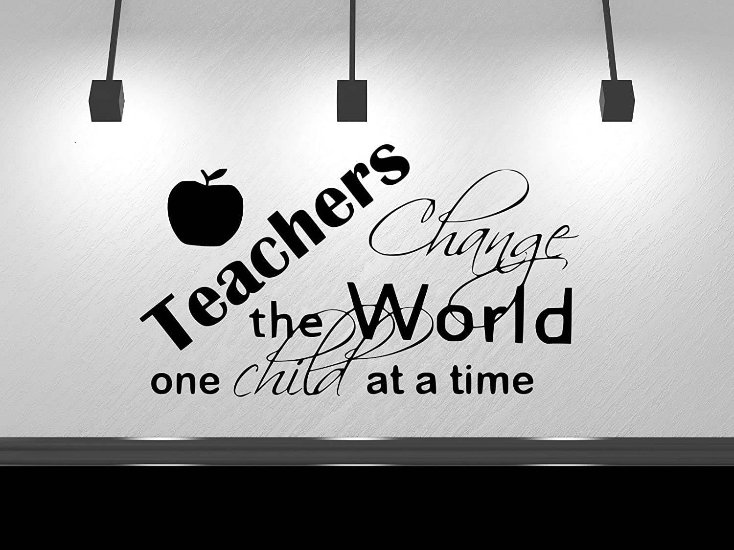 """Teachers Change The World One Student at a Time, Teacher Decal, Classroom Decal, Teaching Learning Education School Classroom Decor Wall Sticker 13"""" H X 22"""" W Black or White"""
