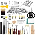 JOYPEA Leather Working Tools 195 PCS Leather Craft Stamping Tools with Cutting Mat Snaps and Rivets Kit Stitching Groover, Pr