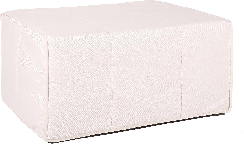 Quality Mobles Cama Plegable Individual de 80x180 cm Color Natural, Somier metálico con Lamas de Madera. Colchón de Espuma y Funda Textil, 83 cm
