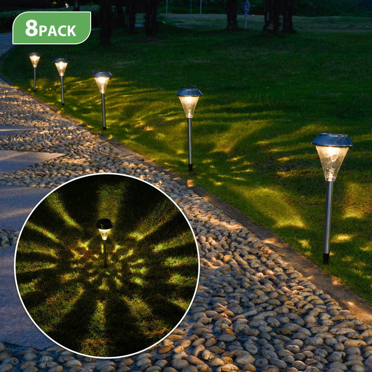 TWINSLUXES Solar Pathway Lights Outdoor Stainless Steel Grass Light Glass Lamp Waterproof Metal Garden Walkway Lights LED Landscape Lighting for Pathway, Sidewalk, Lawn, Patio, Yard 8 Pack Warm lights
