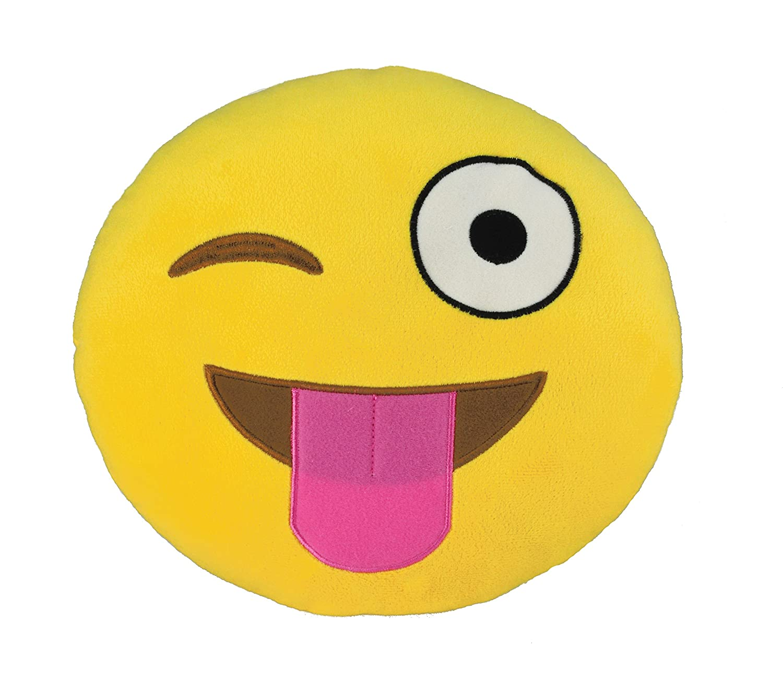 Kids PreferROT Emoji Large Pillow: Silly Wink Plush