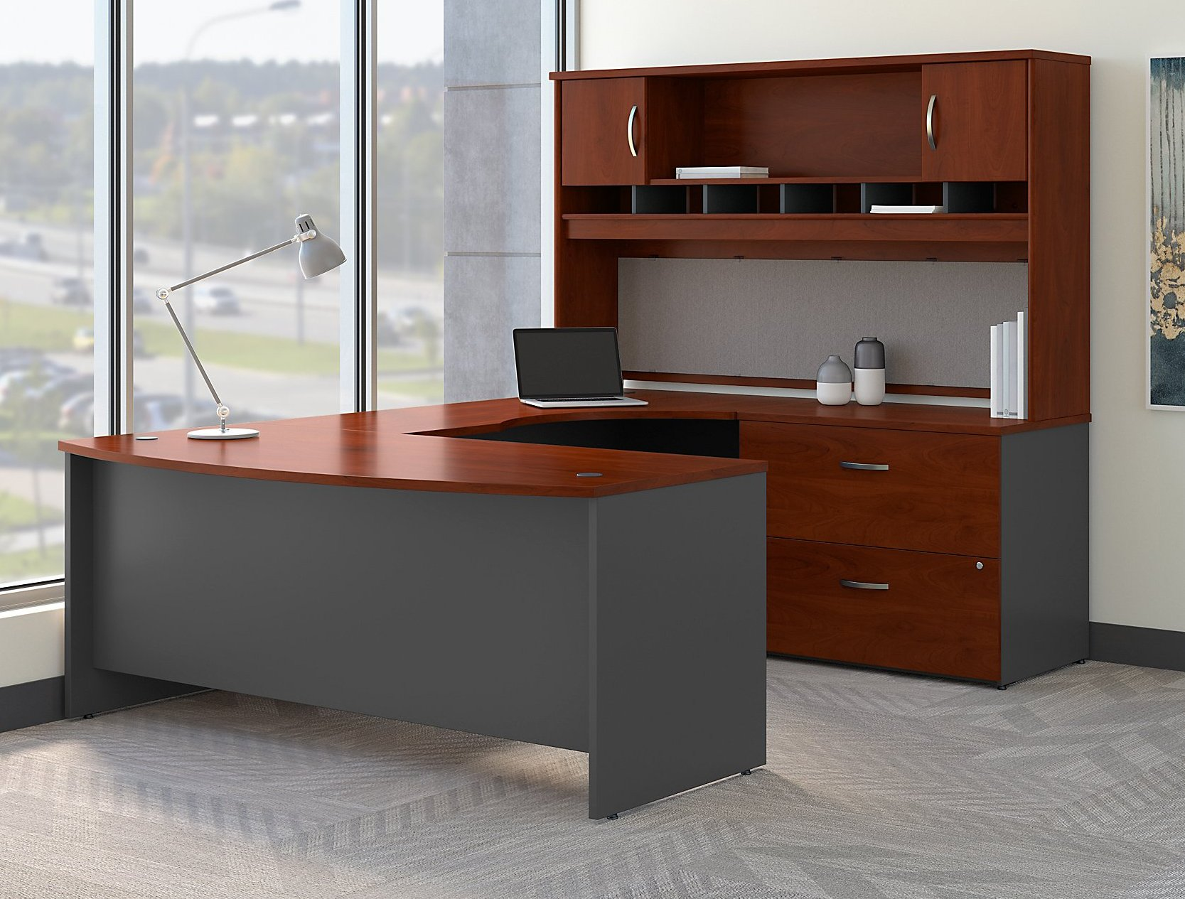 Bush Business Furniture Series C 72W Right Handed Bow Front U Shaped Desk with Hutch and Storage in Hansen Cherry, by Bush Business Furniture