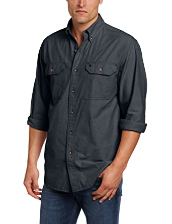 0a5fdf30eef2 Carhartt Men s Fort Long Sleeve Shirt Lightweight Chambray Button Front  Relaxed Fit