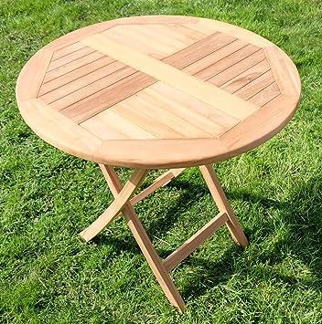 Amazon.de: TEAK Klapptisch Holztisch Gartentisch Garten Tisch rund ...