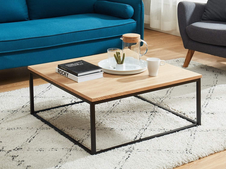 HOMIFAB Coffee Table, Bois et Noir, 6 cm