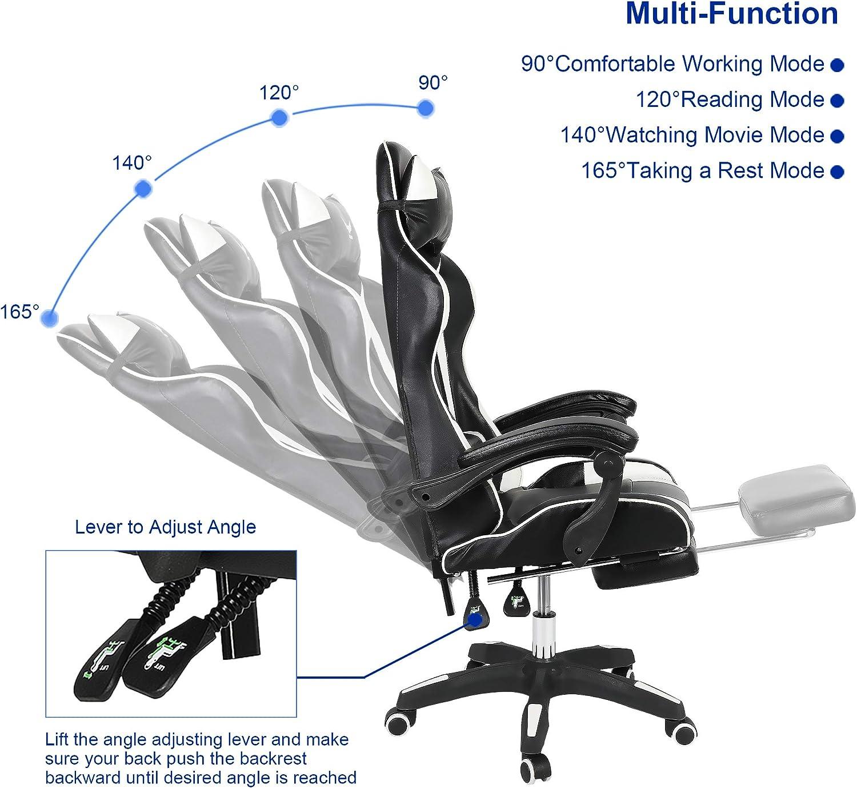 Greensen con braccioli e poggiapiedi bianco sedia da scrivania in pelle PU sedia ergonomica girevole con poggiatesta e cuscino lombare sedia da gaming regolabile in altezza sedia da ufficio