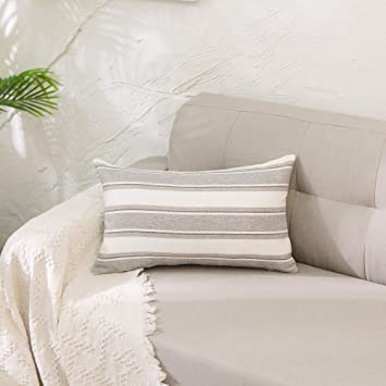 Amazon.com: NATUS WEAVER Funda de almohada de lino a rayas ...