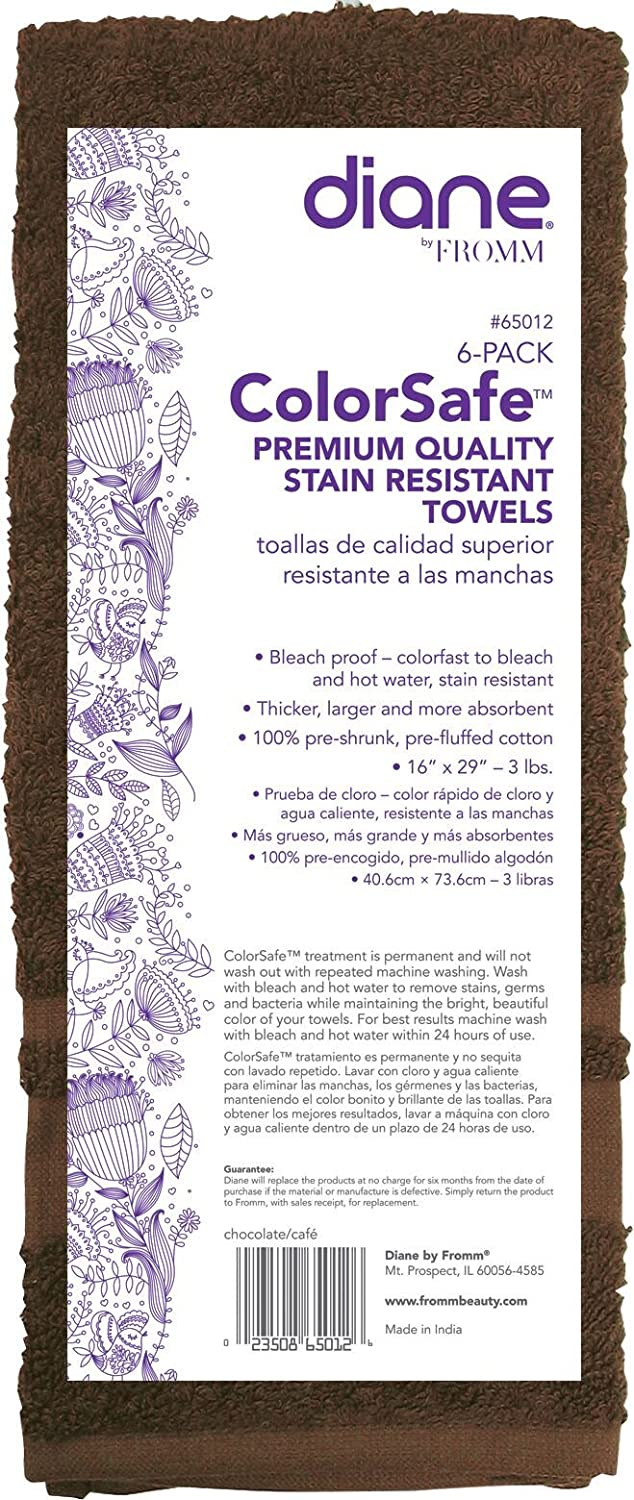 Amazon.com : Diane Fromm Color Safe Premium Quality Stain Resistant Towels 16 inch by 29 inch 6 pack Chocolate : Beauty