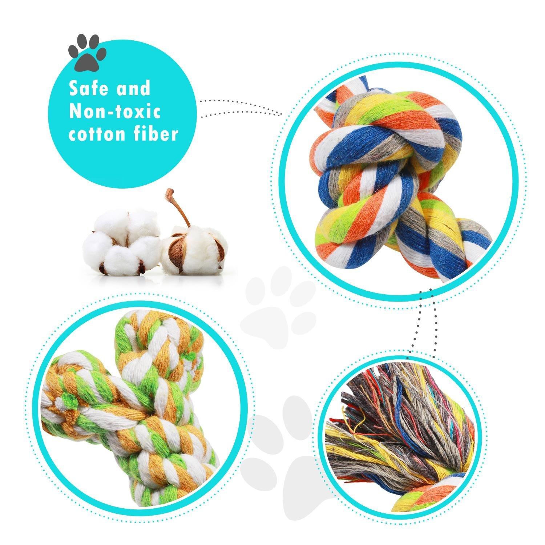 Corde Jouets pour Chiens Pecute 6 Pièces de Jouets pour Petits Moyens Grands Chiens Corde avec Nœud Coton Jouets à Mâcher Durables