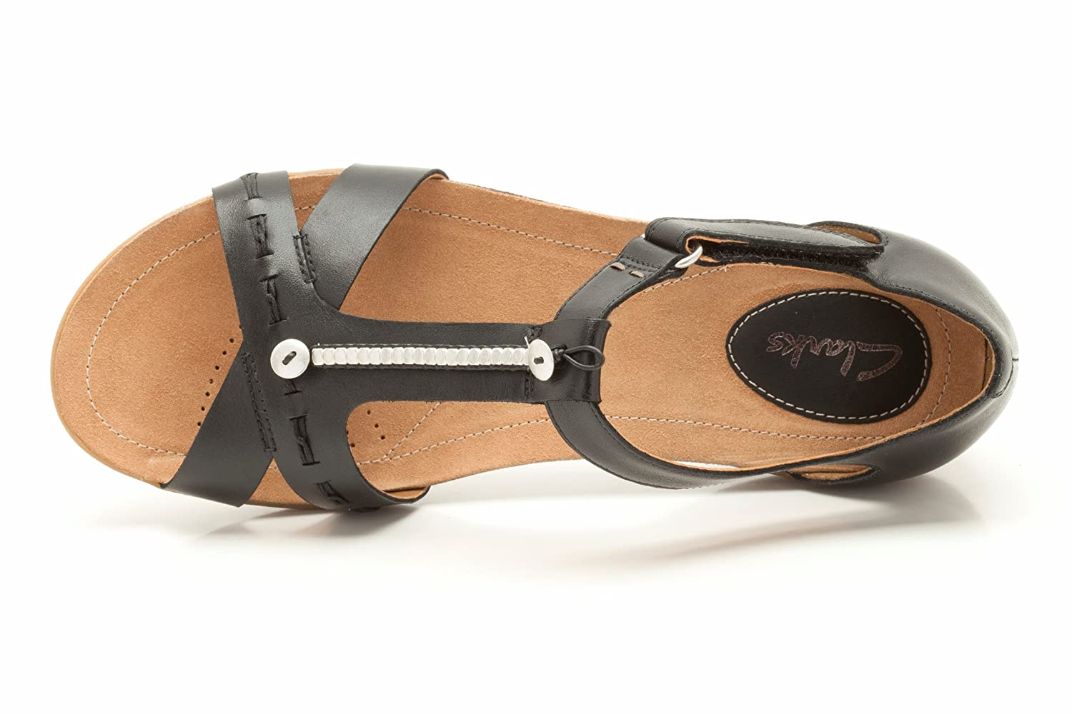 b091a8d0c758 Clarks Womens Casual Clarks Raffi Magic Leather Sandals In Black Standard  Fit Size 5  Amazon.co.uk  Shoes   Bags