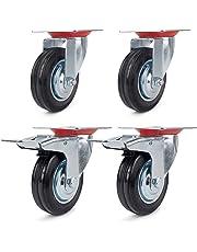 Juego de 4 Ruedas Giratorias de Mueble Ø 160 mm ruedas pivotantes con Freno de (