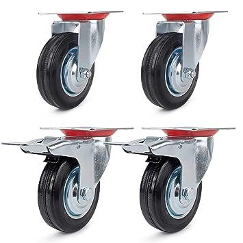 Juego de 4 Ruedas Giratorias de Mueble Ø 85 mm ruedas pivotantes con Freno de (2 con freno y 2 sin freno): Amazon.es: Bricolaje y herramientas