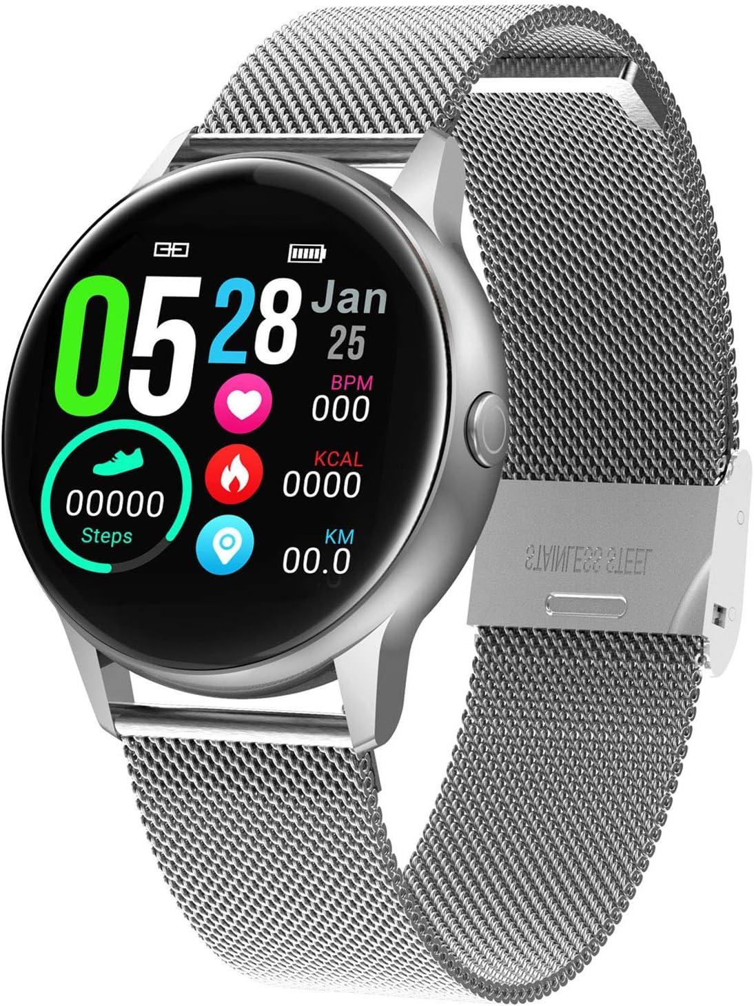 XMYL Smartwatch Mujer, Reloj Inteligente Elegante Pulsera de Actividad Impermeable IP68 con Pulsómetros Podómetro, para Teléfono Inteligente Android iOS iPhone Samsung Huawei
