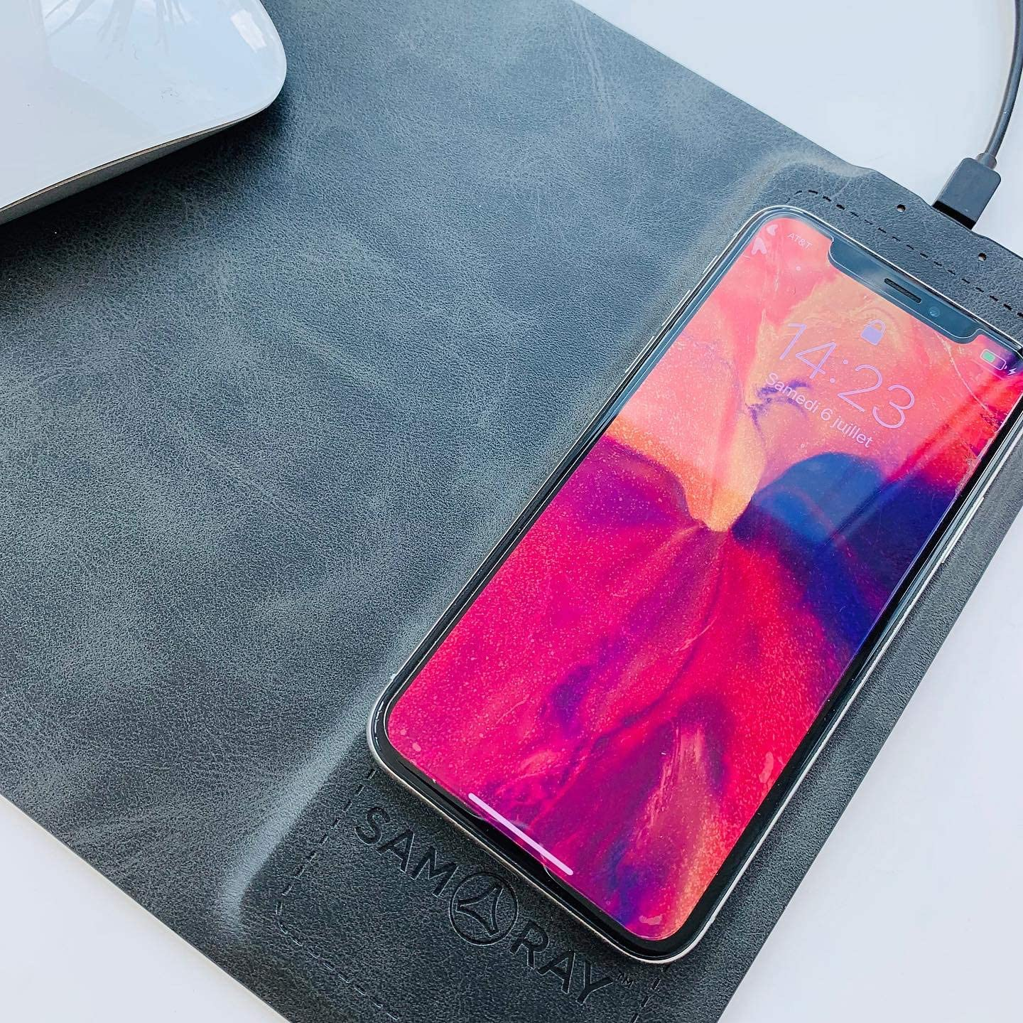 7,5W for iPhone Xs Max//XR//X//XS//8//8 Plus Devices Black Compatible Samsung Galaxy S9 S8 S7 Qi Wireless Charging Mouse Pad 10W SAMARAY 2 in 1 Wireless Charger