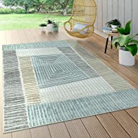Home Indoor and Outdoor Rug, for Patio or Balcony, Weatherproof, Modern Geometric Pattern, Beige 60x100cm A