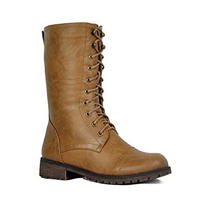 fd50eb128343c Amazon.com | ShoBeautiful Women's Mid Calf Lace Up Military Combat Boot  Winter Snow Waterproof Flat Riding Boots Tan 11 | Mid-Calf