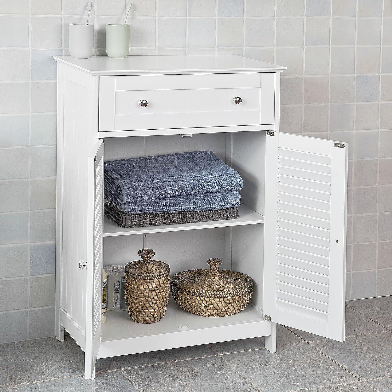 Blanc SoBuy/® FRG238-W Meuble Bas de Salle de Bain Armoire Toilette Buffet Commode