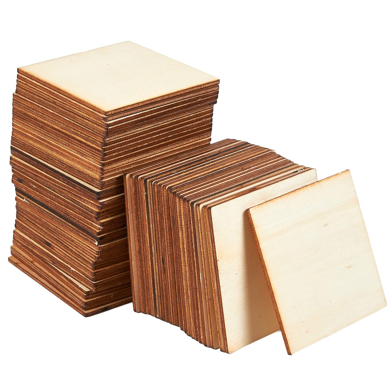 Unfinished Wood Pieces - 60-Pack Wooden Squares Cutout Tiles, Natural Rustic Craft Wood for Home Decoration, DIY Supplies, 3 x 3 inches