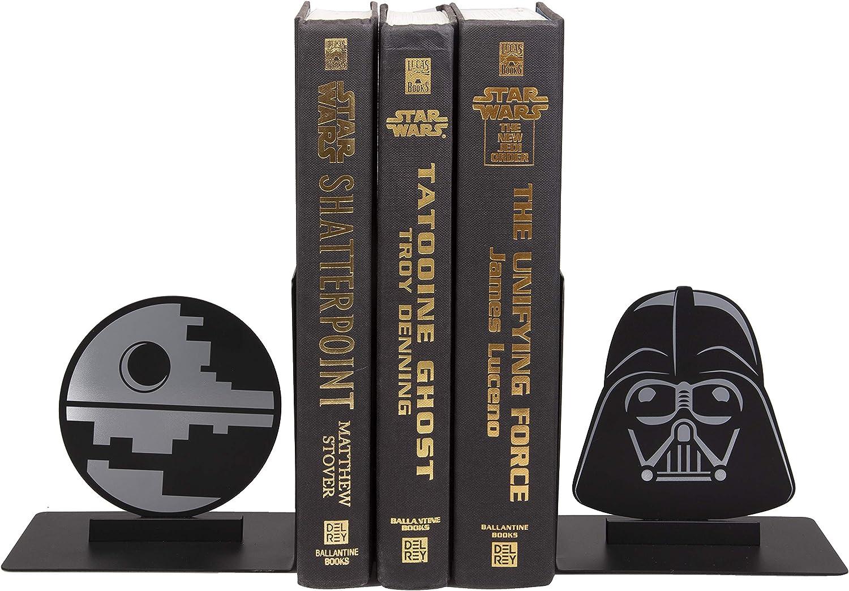 Star Wars Dark Side Bookends - Decorative Metal Darth Vader and Death Star Designs