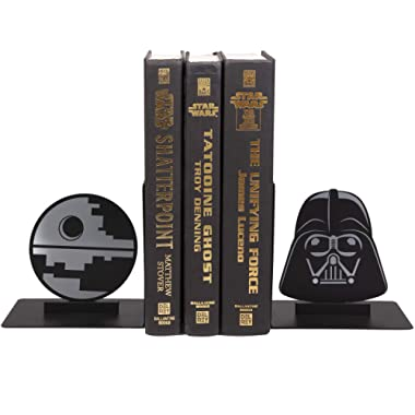 Star Wars Dark Side Bookends - Decorative Metal Darth Vader and Death Star Designs