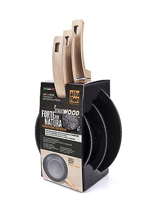 Alluflon Etnea Wood Edition - Juego de 3 sartenes, aluminio, Negro, 20, 24 y 28 cm: Amazon.es: Hogar