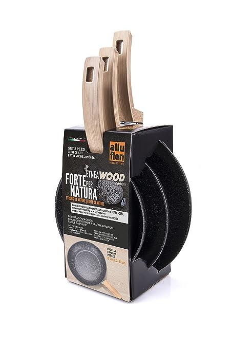 Alluflon Etnea Wood Edition - Juego de 3sartenes, aluminio, Negro, 20
