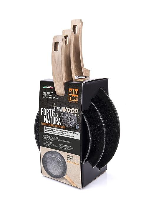 Alluflon Etnea Wood Edition - Juego de 3 sartenes, aluminio, Negro ...