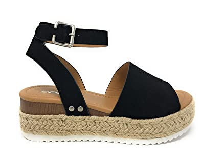 6a93bac415e0 Womens Topic4 Casual Espadrilles Trim Rubber Sole Flatform Studded Wedge  Buckle Ankle Strap Open Toe Sandal