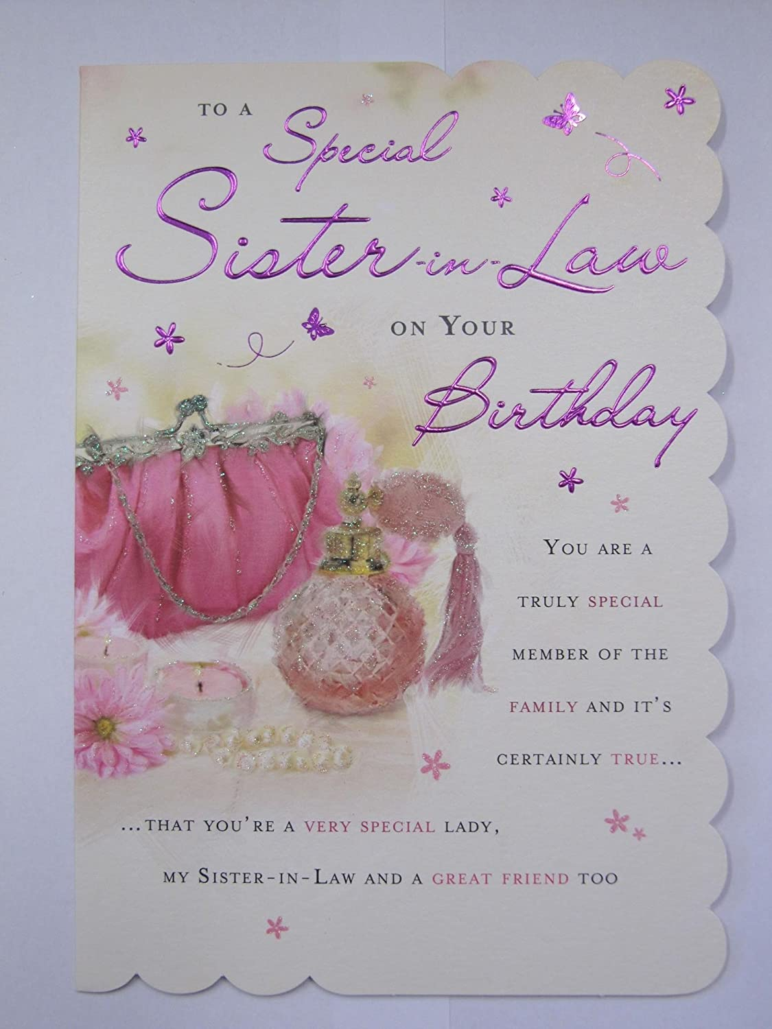 STUNNING TOP RANGE WONDERFUL WORDS 5 VERSE SISTER IN LAW BIRTHDAY GREETING CARD Amazoncouk Kitchen Home