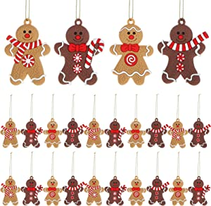WILLBOND 24 Pieces Gingerbread Christmas Ornament Christmas Gingerbread Man Decoration Gingerbread Man Hanging Christmas Ornament for Christmas Tree Decor, 4 Styles
