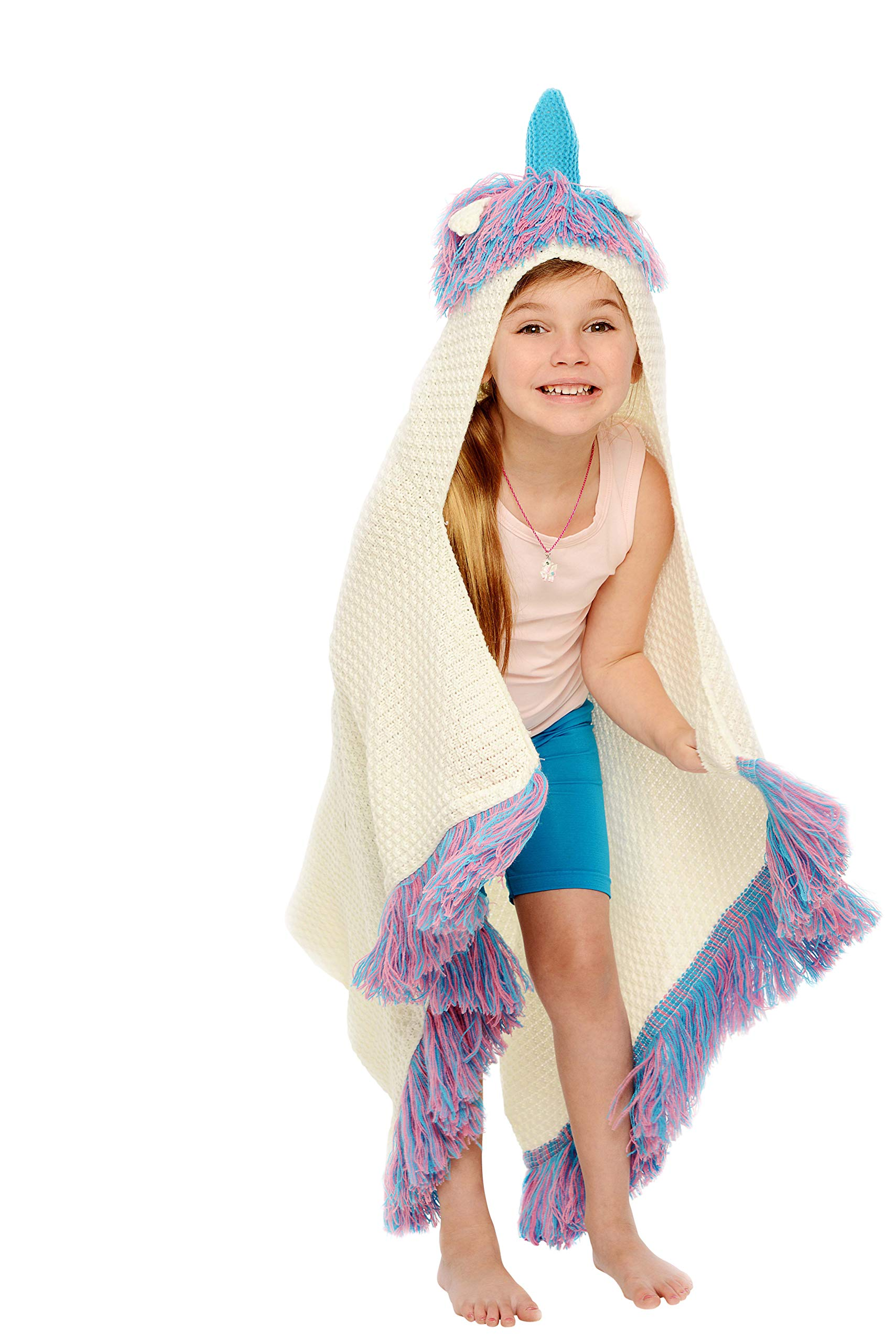 Rows of Throws Hypoallergenic Unicorn Blanket with Hood for Kids - Rare Blue Horn Model
