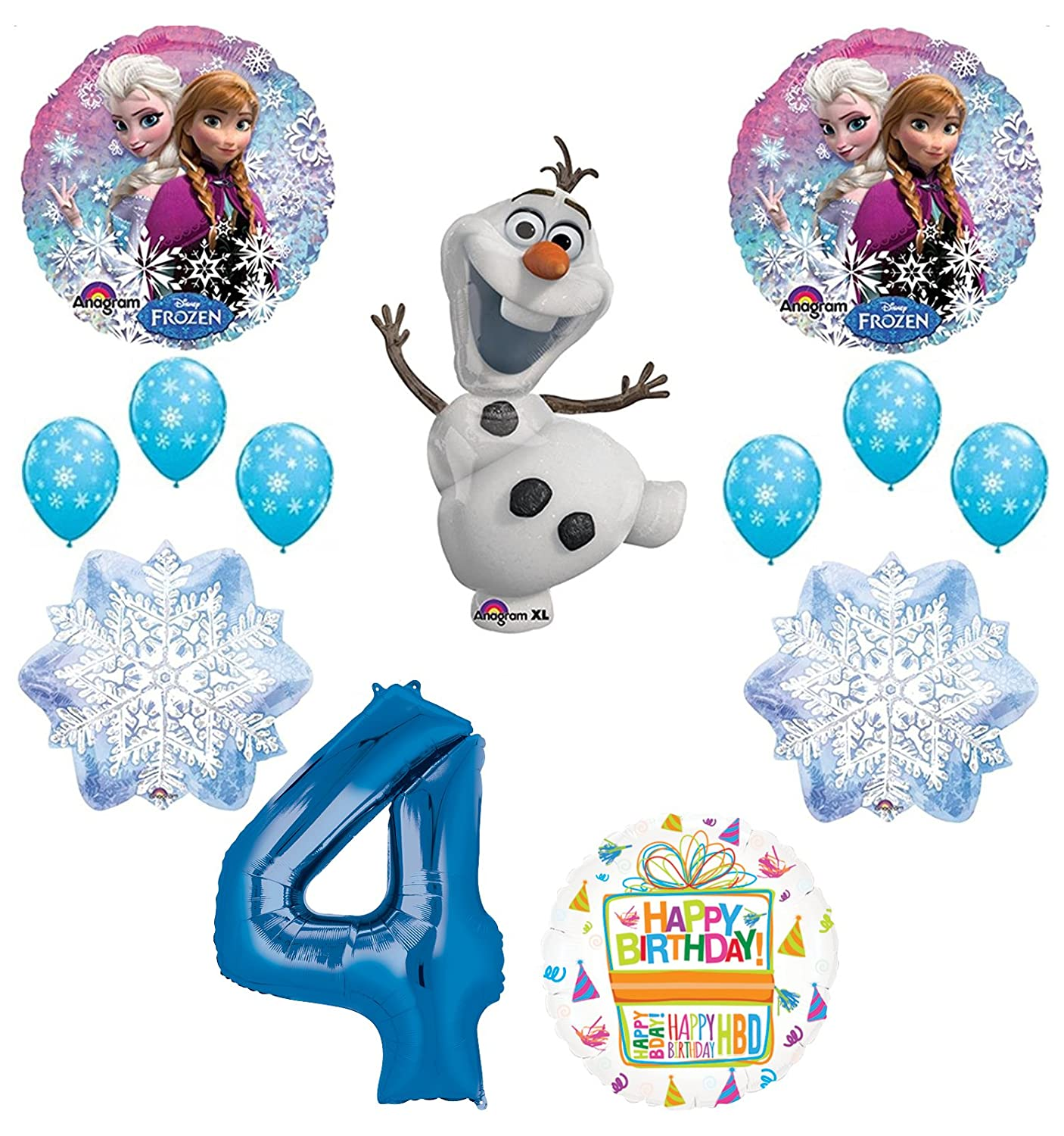 Amazon Mayflower Products Frozen 4th Birthday Party Supplies Olaf Elsa And Anna Balloon Bouquet Decorations Blue 4 Toys Games
